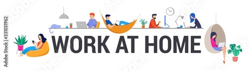 Working at home, coworking space, concept illustration. Young people, man and woman freelancers working on laptops and computers at home. People at home in quarantine. Vector flat style illustration - 331031962