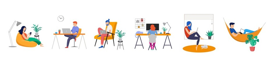 Fototapeta na wymiar Working at home, coworking space, concept illustration. Young people, man and woman freelancers working on laptops and computers at home. People at home in quarantine. Vector flat style illustration