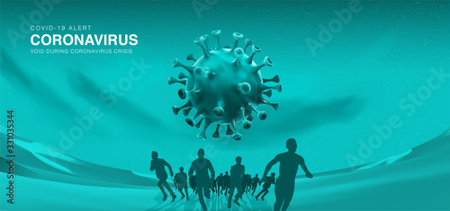Photo Novel coronavirus in China (2019-nCoV), 3D vector illustration background of people ran avoid viruses