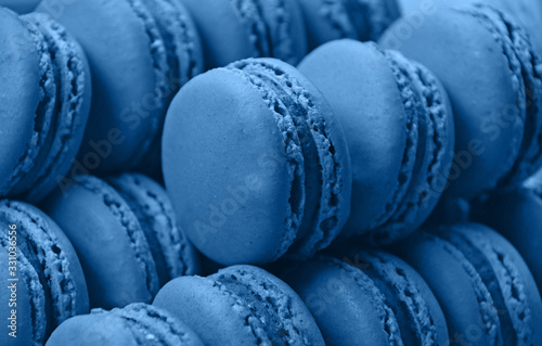 Fresh baked blue macaroon cookies close up Poster Mural XXL