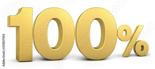 Fotografía Golden 100 Percent Off Discount Sign, Special Offer 100% Off Discount Tag, Save