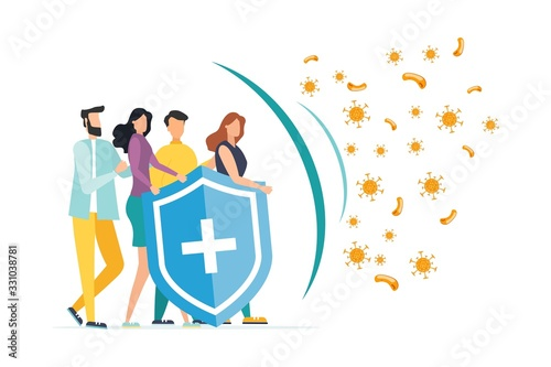 Immune system vector icon logo. Protection against bacteria health viruses. A healthy mans and womans stand behind a shield and repel an attack of bacteria by the shield. Enhance immunity with medicin