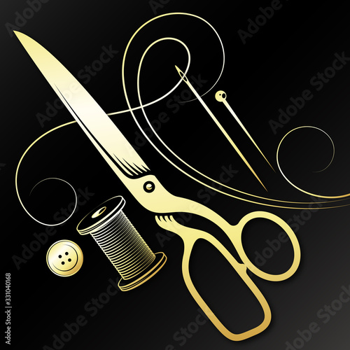 Obraz na plátne Gold scissors needle and spool of thread for cutting and sewing
