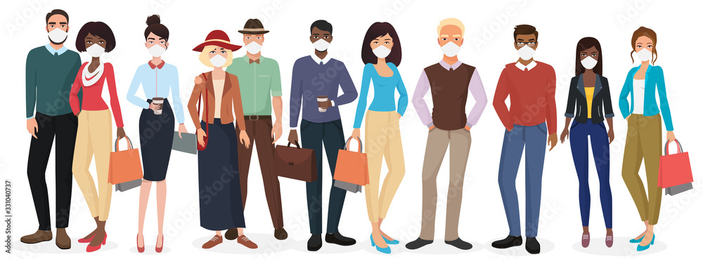 Vector People in casual clothes wearing face masks to prevent disease. Coronavirus in China, Europe and USA. Novel coronavirus 2019-nCoV, COVID-19, SARS-CoV-2. Man woman medical face mask protection