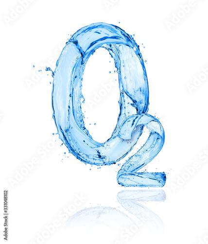 Obraz na plátne Chemical formula of oxygen made of water splashes on a white background