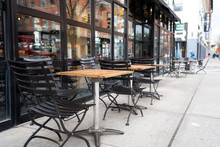 Empty Tables Of Street Cafe During New York City Lockdown, Coronavirus Quarantine