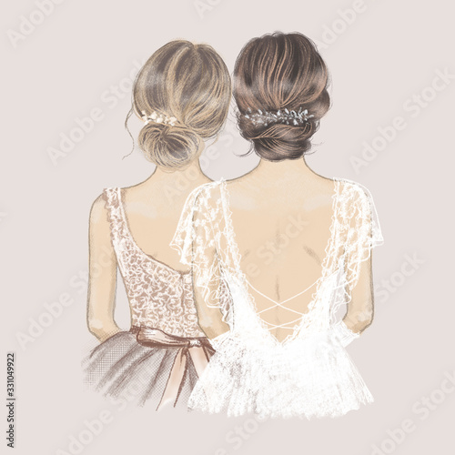 Bride and bridesmaid side by side, wedding invitation. Hand drawn illustration in vintage style © maddyz