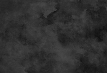 Black watercolor background texture and distressed vintage grunge and paint stains in elegant backdrop illustration, old black and white marbled mottled pattern in dark website or wallpaper design