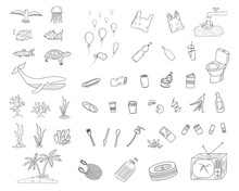 Hand Drawn Set Of Ocean Pollution Icons. Black And White Doodle Vector Illustration