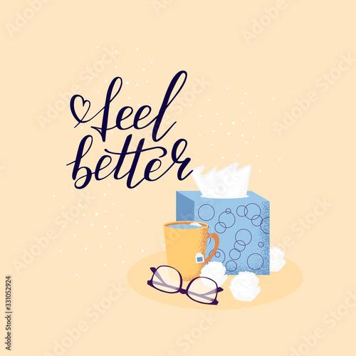 Vászonkép Hand lettering feel better positive