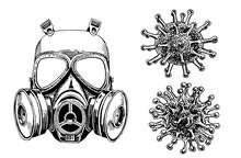 Coronavirus Set, Graphical Mask And Molecules Isolated On White Background,vector Illustration