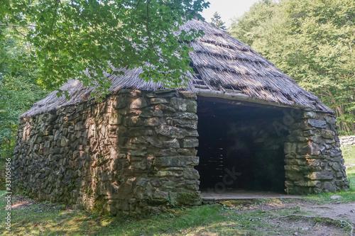 Cape Breton, Nova Scotia, Canada: The Lone Schieling, a stone shepherd's hut built in 1942 to commemorate the Scotish heritage of Pleasant Bay.
