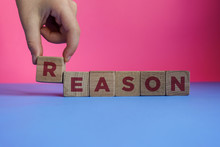 REASON Word Made With Building Blocks.