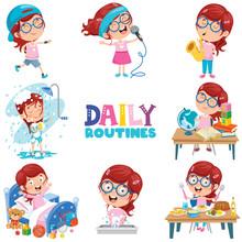 Little Girl Doing Daily Routin...