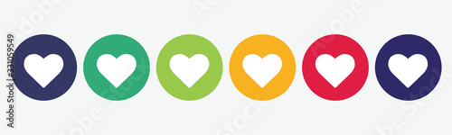 Set of 6 circles with heart icon. Vector illustration. Tableau sur Toile