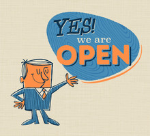 Vintage Style Open Sign With Vintage Offset Feeling - Yes! We Are Open - Vector.