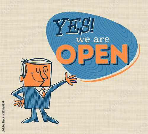 Photo Vintage Style Open Sign with Vintage Offset Feeling - Yes! We Are Open - Vector EPS10