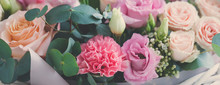 Pastel Trend Colored Flowers In White Basket Isolated, Selective Focus