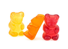 Colored Sweet Jelly Marmalade Teddy Bears Isolated On White Background. Gummy Bears.