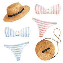 Swimsuit, Panties, Bra, Straw ...
