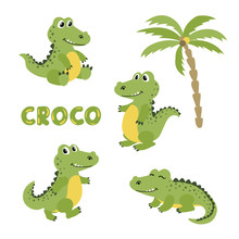 Set Of Cute Cartoon Crocodiles...