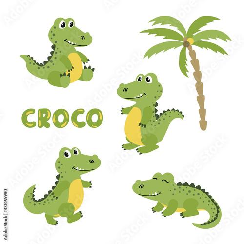 Leinwand Poster Set of cute cartoon crocodiles