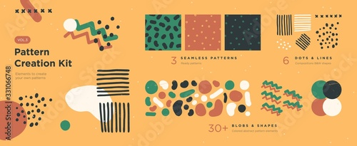 Photo Set of abstract trendy hand drawn shapes and design elements