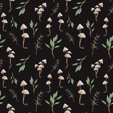 Natural Seamless Pattern. Watercolor Hand Drawn Texture: Mushrooms, Tree Branches, Plants On Black Background. Woodland Wallpaper