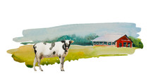Traditional Vintage Red Farm Barn With White And Black Cow On The Front. Original Simple Watercolor Rural Illustration