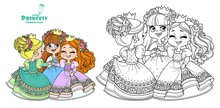 Three Cute Princesses In Wreaths Of Rose Flowers Dancing Holding Hands Outlined And Color For Coloring Book