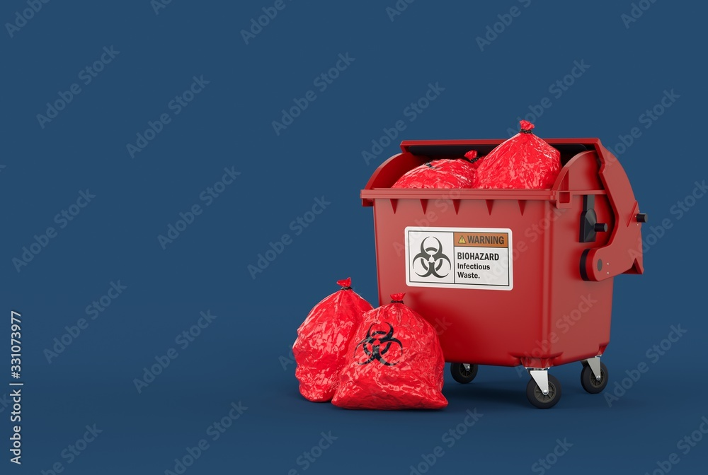 Fototapeta full trash container with garbage bags