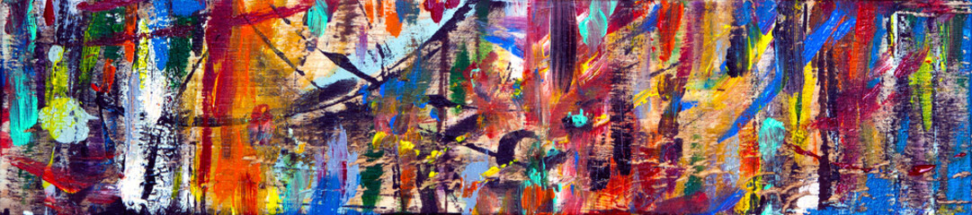 Art abstract panorama; fun; creative background texture with random paint brushstrokes in amazing multicolor - painting concept for design - in long, thin header / banner.