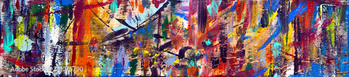 Photo Art abstract panorama; fun; creative background texture with random paint brushstrokes in amazing multicolor - painting concept for design - in long, thin header / banner