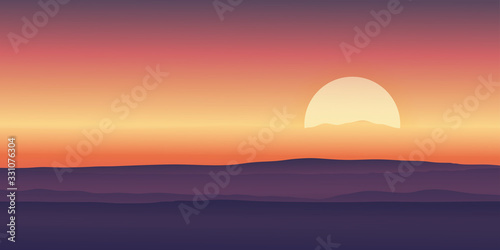 Fototapeta Vector illustration Dramatic morning sunrise with sky line in orange yellow and magenta mountains background.Template design for product or advertising, travel or nature display backdrop and banner obraz