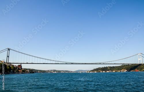 Carta da parati Fatih Sultan Mehmet Bridge also known as the Second Bosphorus Bridge over mansio