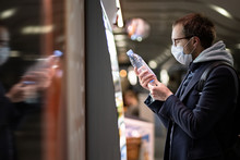 Caucasian Man Customer In Glas...