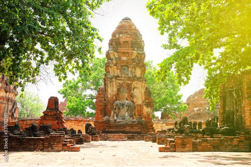 Buddha statue in Wat Mahathat temple, Ayutthaya, Thailand. Canvas Print