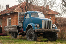 Vintage Truck Closeup To Rural Country House