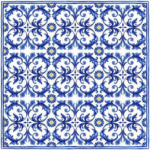 Portuguese Azulejos tile bandana scarf Wallpaper Mural