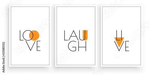 Fotografie, Obraz Love, laugh, live, vector