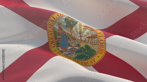 Flags of the states of USA. State of Florida flag. 3D illustration.