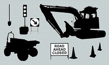 Set Of Silhouettes Of Road-wor...