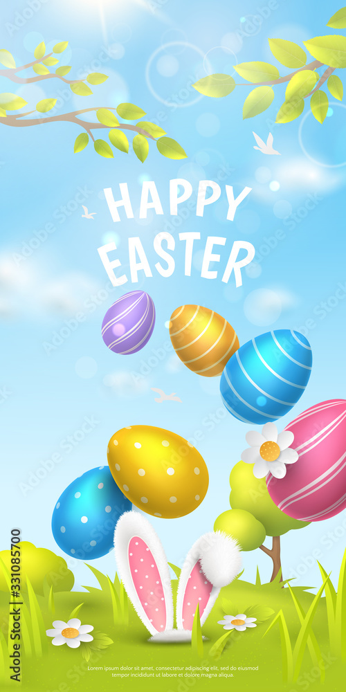 """Fototapeta Festive vertical banner with title """"Happy Easter"""" and spring scene with falling realistic colorful eggs and 3D fur ears of bunny on meadow. Vector holiday background with cartoon landscape."""