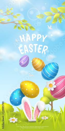 "Fototapeta Festive vertical banner with title ""Happy Easter"" and spring scene with falling realistic colorful eggs and 3D fur ears of bunny on meadow. Vector holiday background with cartoon landscape. obraz"