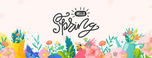Bright Floral Border And Text On White Background.