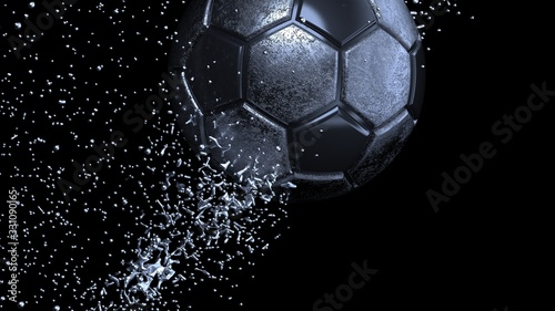 Black Roasted Metallic Soccer ball with Rotating Particles under Black-Blue Background Canvas Print