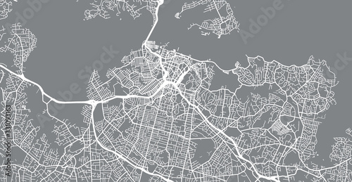 Urban vector city map of Auckland, New Zealand Canvas Print