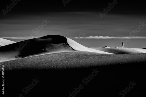 Black and White Abstract of Sand Dune, Sahara, Morocco