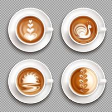 Latte Art Top View Icon Set