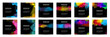 Big set of bright vector colorful watercolor on vertical black background for poster or flyer